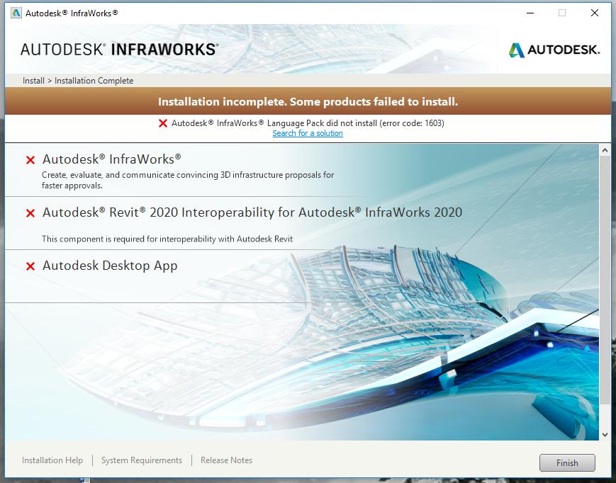 Solved  Problem Installing Infraworks 2020
