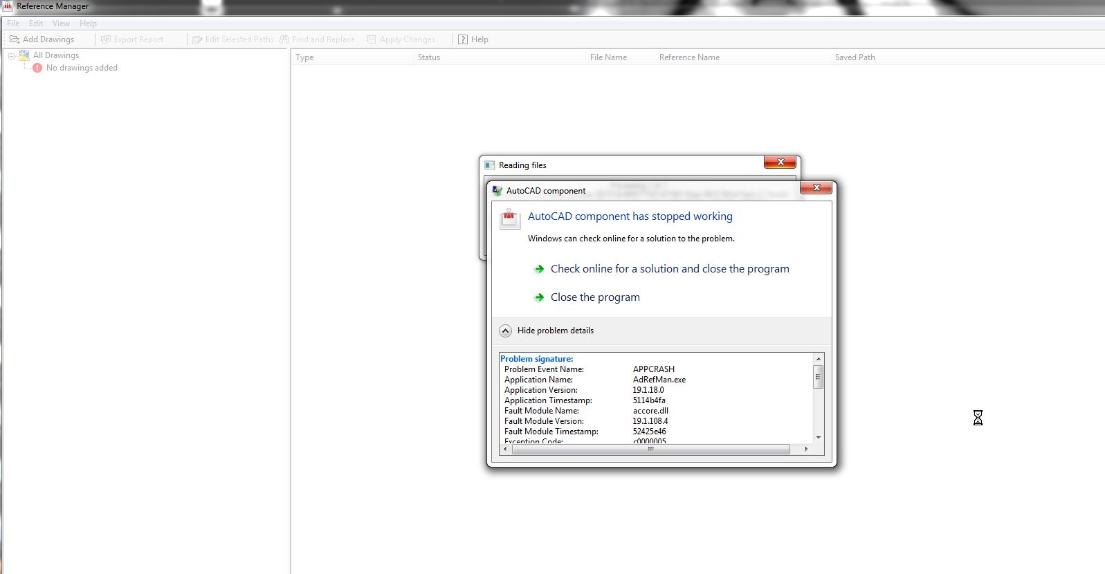 Reference Manager crashes continually - Autodesk Community