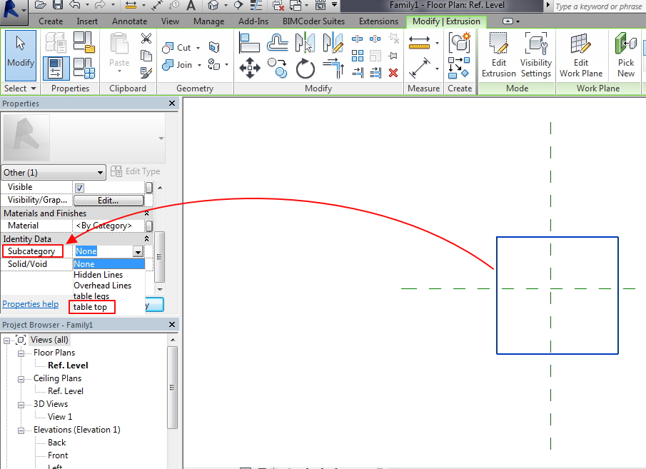 Solved: Different subcategory for family types - Autodesk