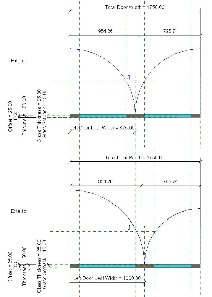 solved unequal door leafs  curtain wall door autodesk community